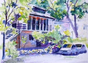 Painting Done on Chart Paper : Alternative to Watercolour Paper