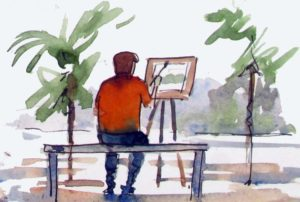 Painting outdoors or en plein air is great for improving in watercolor.