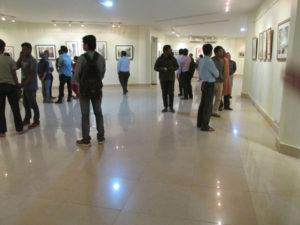 Crowd on the opening day of my last watercolor show