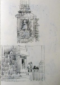 detail sketch of the temple and thumbnail