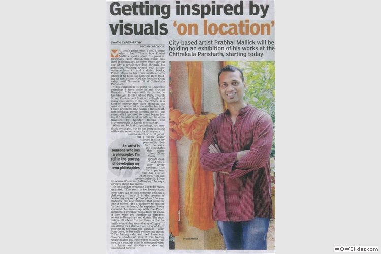 Deccan Chronicle feature of Prabal Mallick